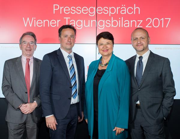 Christian Mutschlechner (Vienna Convention Bureau) Markus Grießler (Wirtschaftskammer Wien) Renate Brauner und Norbert Kettner (Tourismus Wien)