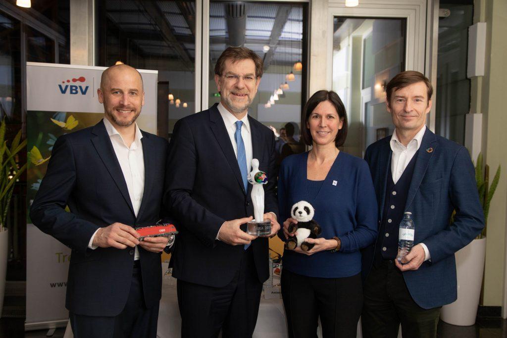 Initiative Climate Group (vlnr) Clemens Först (ÖBB Rail Cargo Group), Andreas Zakostelsky (VBV Gruppe), Andrea Johanides (WWF) und Herbert Schlossnikl (Vöslauer)
