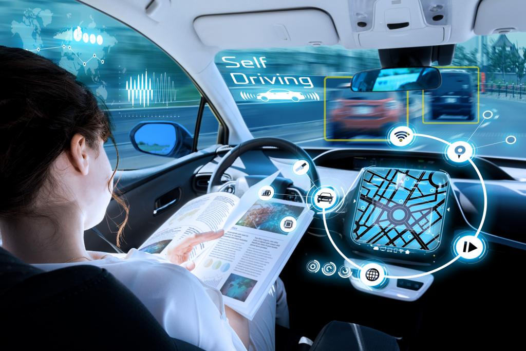 lesende Frau in selbstfahrendem Auto, Montage